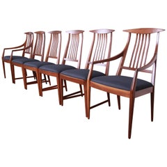 Kipp Stewart for Calvin Furniture Sculpted Walnut Dining Chairs, Newly Restored