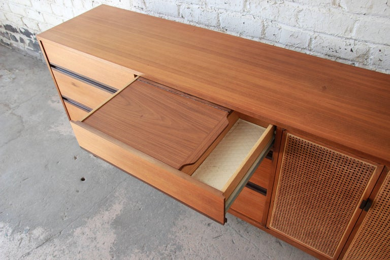 Kipp Stewart For Calvin Mid Century Modern Walnut And Cane