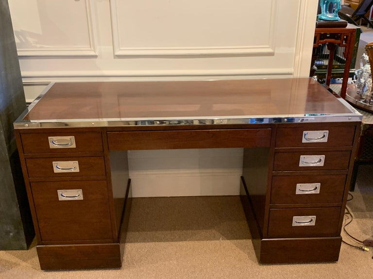Mid-Century Modern Kipp Stewart for Directional Special Order Campaign Desk, 6400-B For Sale