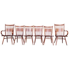 Kipp Stewart for Drexel Declaration Solid Walnut Dining Chairs, Set of Six