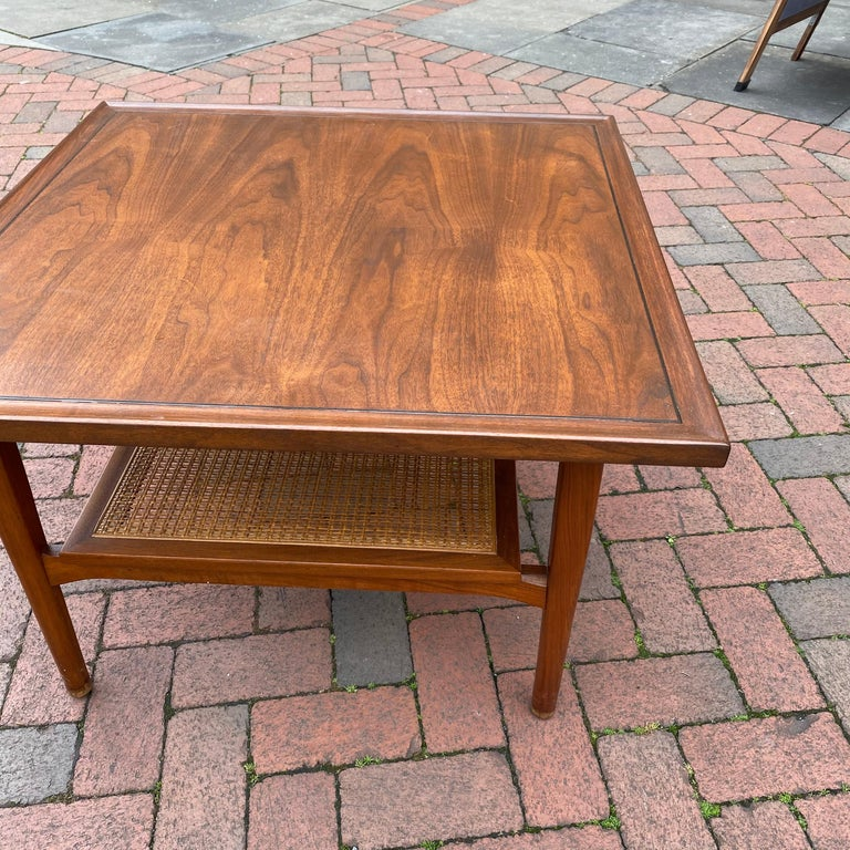 Kipp Stewart for Drexel Declaration Square Walnut Coffee Table Side Table For Sale 4