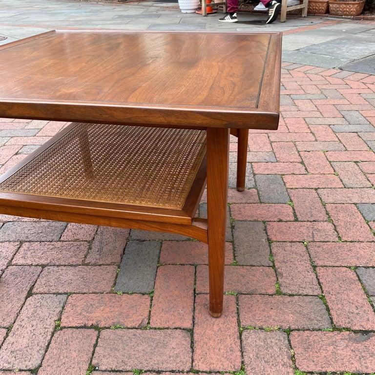 Kipp Stewart for Drexel Declaration Square Walnut Coffee Table Side Table For Sale 5