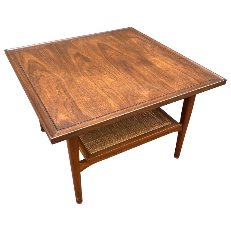 American Kipp Stewart for Drexel Declaration Square Walnut Coffee Table Side Table For Sale