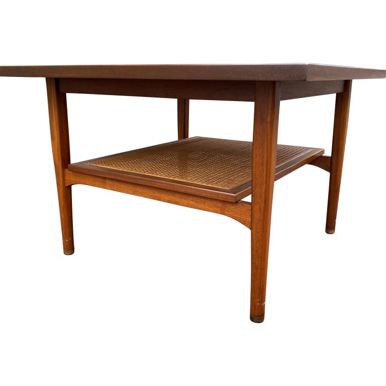 20th Century Kipp Stewart for Drexel Declaration Square Walnut Coffee Table Side Table For Sale