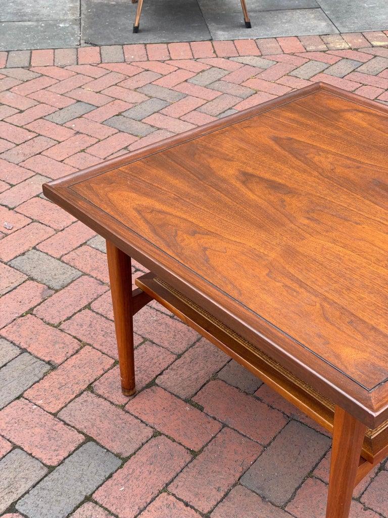 Kipp Stewart for Drexel Declaration Square Walnut Coffee Table Side Table For Sale 1