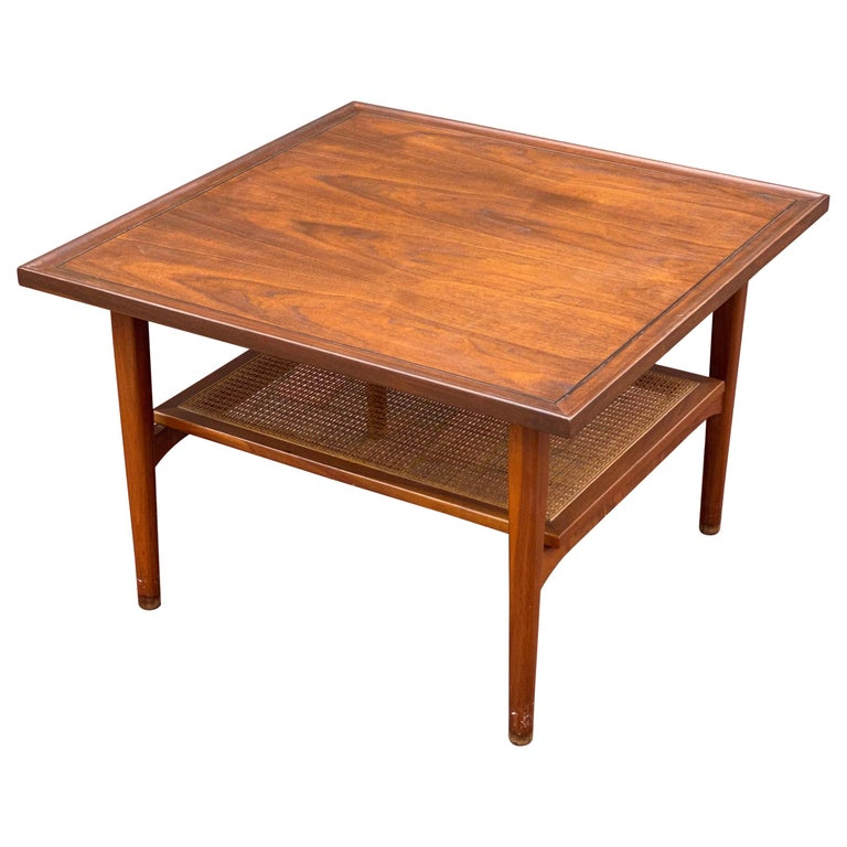 Kipp Stewart for Drexel Declaration Square Walnut Coffee Table Side Table For Sale