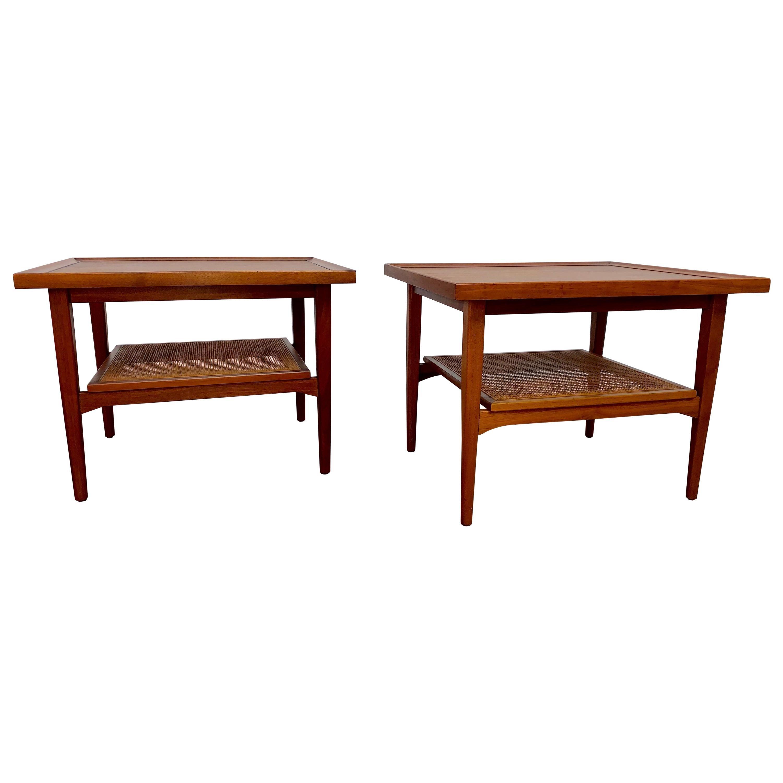 Kipp Stewart for Drexel Declaration Walnut and Cane Side Tables