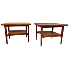 Kipp Stewart for Drexel Declaration Walnut and Cane Side Tables