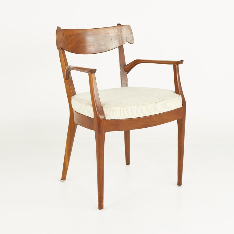 Kipp Stewart for Drexel Mid Century Walnut Dining Chairs - Set of 6 For Sale 5