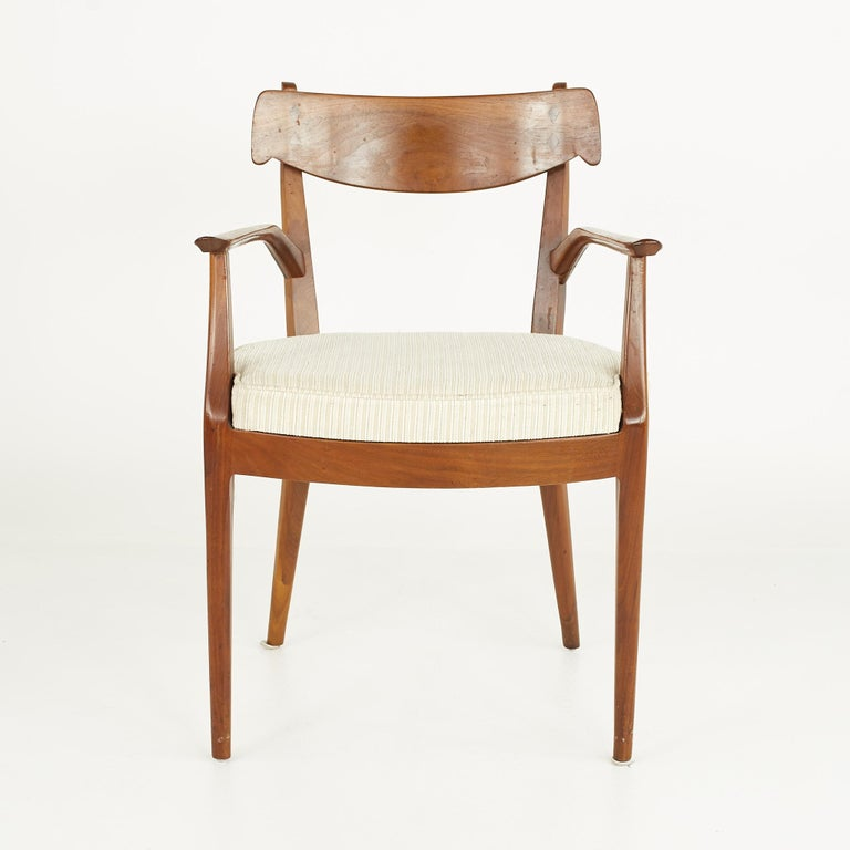Kipp Stewart for Drexel Mid Century Walnut Dining Chairs - Set of 6 For Sale 6