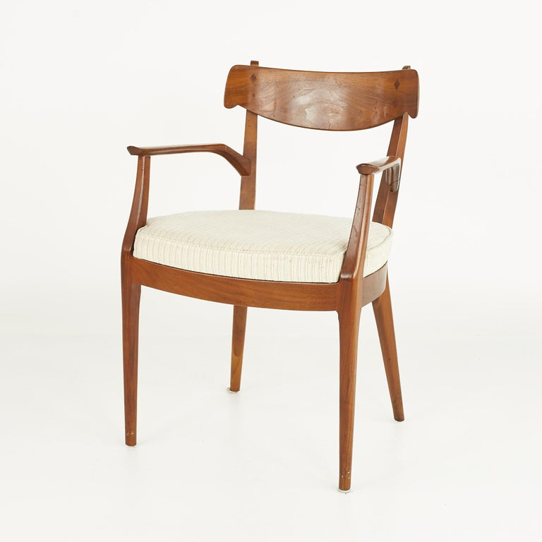 Kipp Stewart for Drexel Mid Century Walnut Dining Chairs - Set of 6 For Sale 7