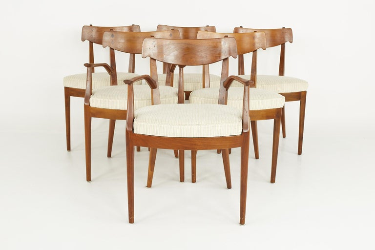 Kipp Stewart for Drexel Mid Century Walnut Dining Chairs - Set of 6  Each chair measures: 21.25 wide x 20.5 deep x 32 high, with a seat height of 19 inches and arm height of 26 inches  ?All pieces of furniture can be had in what we call restored