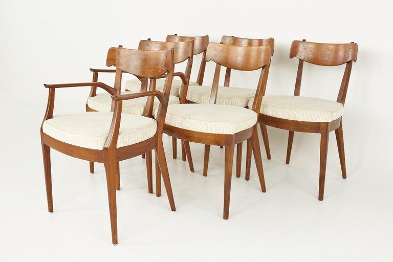 Mid-Century Modern Kipp Stewart for Drexel Mid Century Walnut Dining Chairs - Set of 6 For Sale