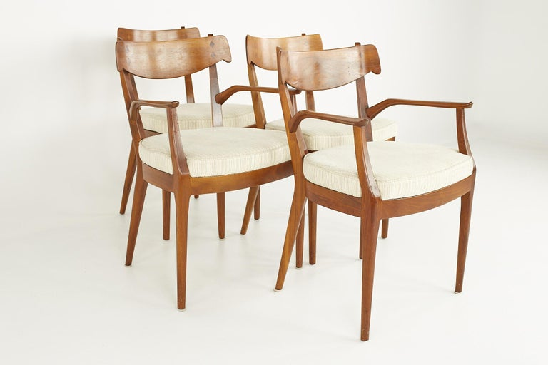 American Kipp Stewart for Drexel Mid Century Walnut Dining Chairs - Set of 6 For Sale