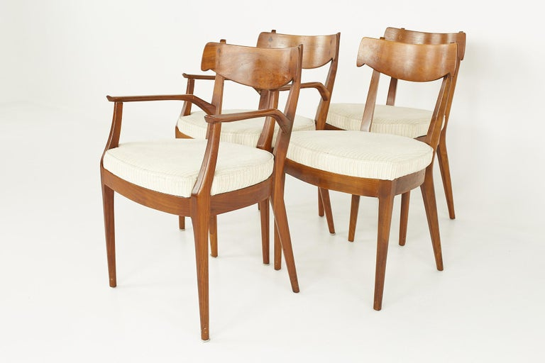 Late 20th Century Kipp Stewart for Drexel Mid Century Walnut Dining Chairs - Set of 6 For Sale