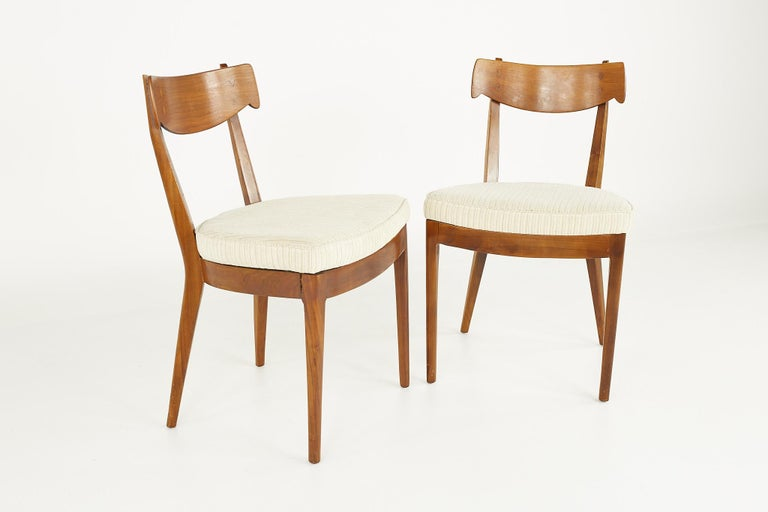 Upholstery Kipp Stewart for Drexel Mid Century Walnut Dining Chairs - Set of 6 For Sale