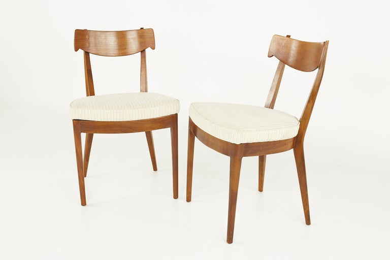 Kipp Stewart for Drexel Mid Century Walnut Dining Chairs - Set of 6 For Sale 2