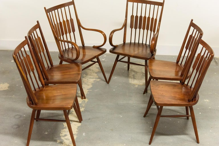 Kipp Stewart Set of Six Centennial Dining Chairs for Drexel, 1950s, Signed For Sale 2
