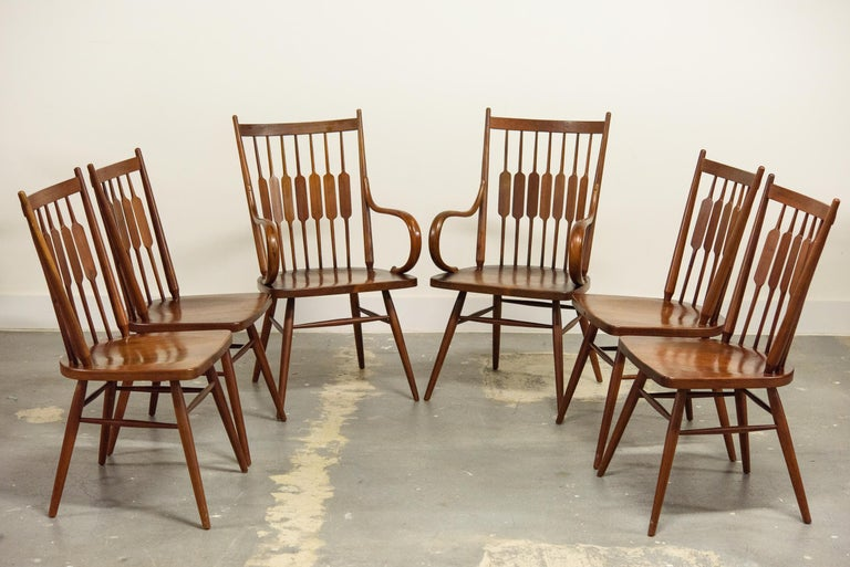 Kipp Stewart Set of Six Centennial Dining Chairs for Drexel, 1950s, Signed For Sale 3