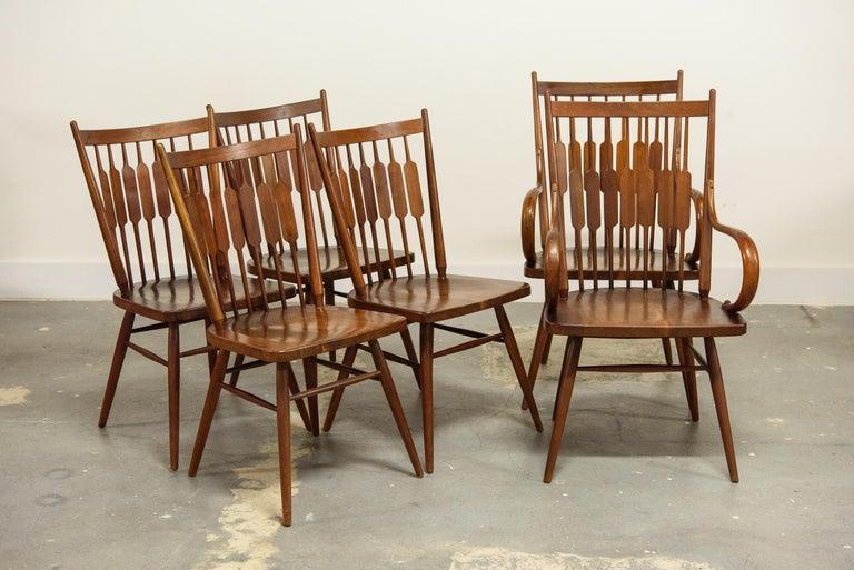Walnut Kipp Stewart Set of Six Centennial Dining Chairs for Drexel, 1950s, Signed For Sale