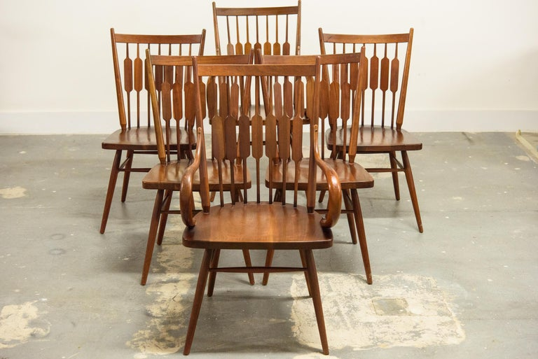 Kipp Stewart Set of Six Centennial Dining Chairs for Drexel, 1950s, Signed For Sale 1