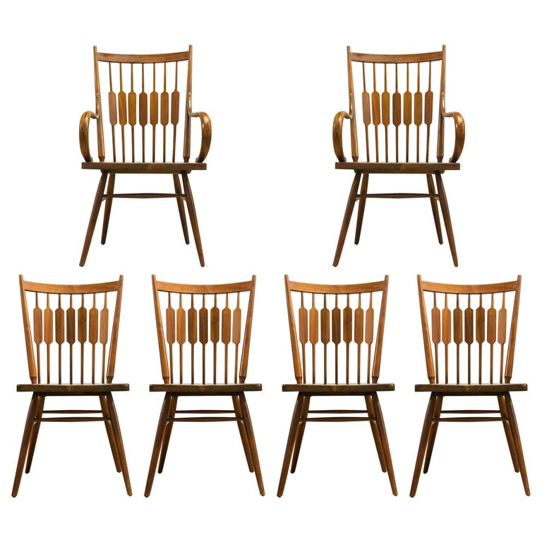Kipp Stewart Set of Six Centennial Dining Chairs for Drexel, 1950s, Signed For Sale
