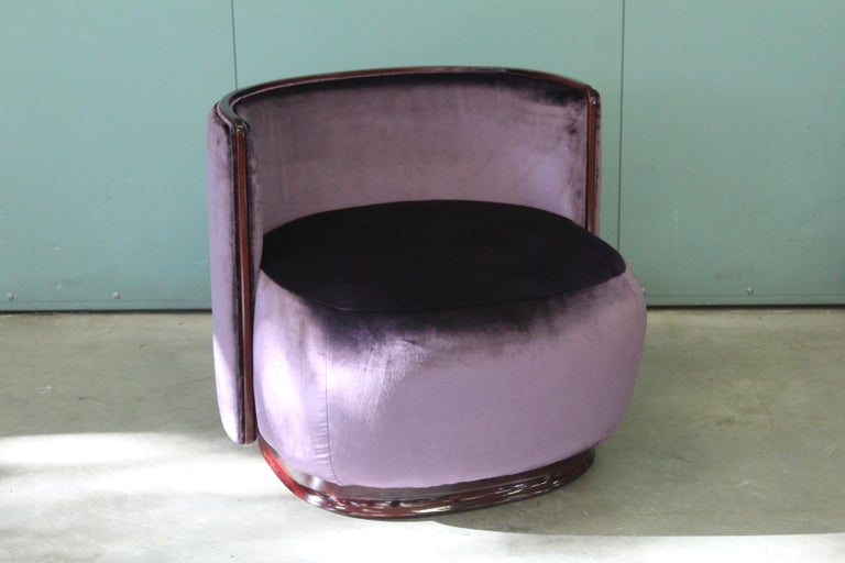 Kir Royal/A Upholstered Curved Armchair with Wooden Frame For Sale 2