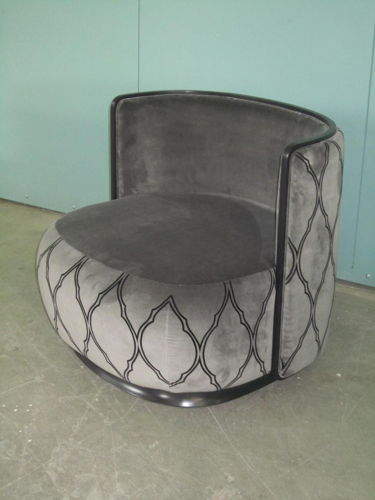 Kir Royal/A Upholstered Curved Armchair with Wooden Frame For Sale 4
