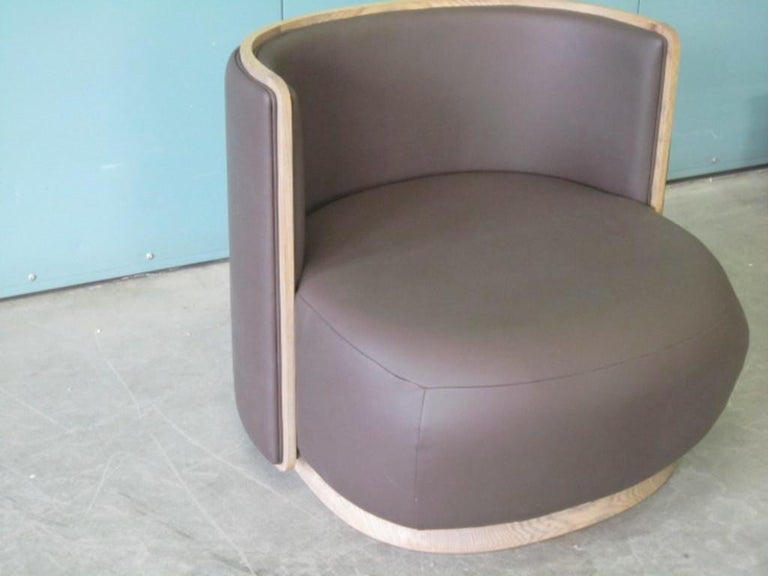 Italian Kir Royal/A Upholstered Curved Armchair with Wooden Frame For Sale