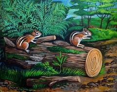 Chipmunks, Original Painting
