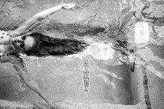 Floating Sasha - Black & White Photograph, Birds Eye View of A Woman Floating
