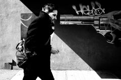 Gun, Brooklyn - Black and White Photograph, Graffiti and Young Man in Brooklyn
