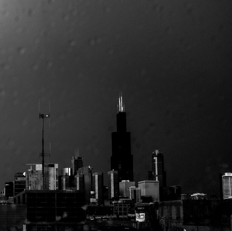 Lightning, Chicago, Large Format Black and White Photograph, Matted and Framed 2