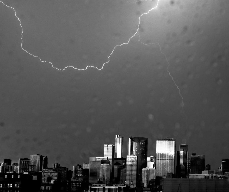 Lightning, Chicago, Large Format Black and White Photograph, Matted and Framed 3