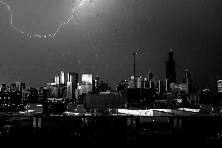 Lightning, Chicago, Large Format Black and White Photograph, Matted and Framed 1