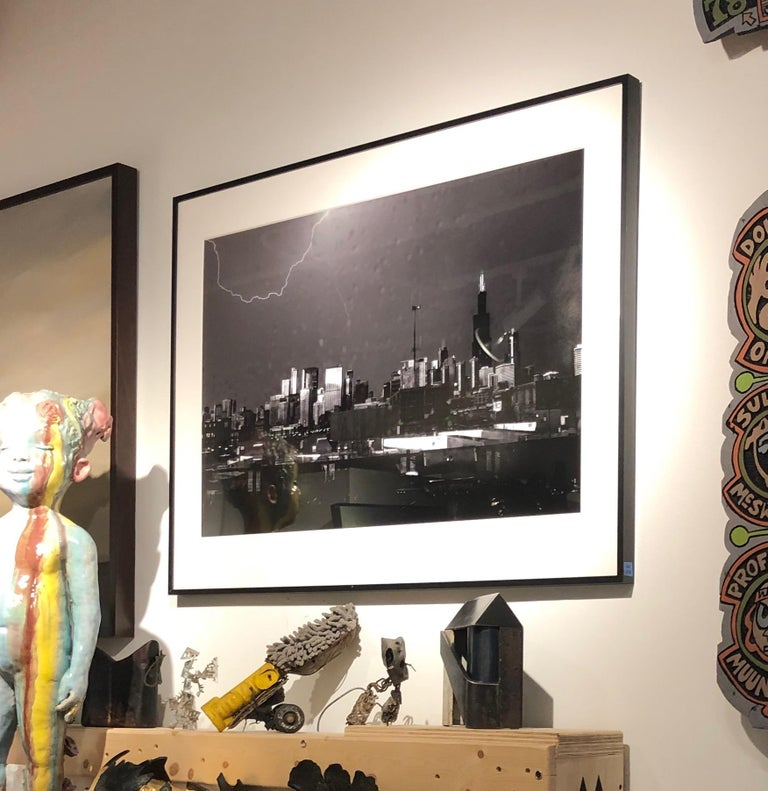 Lightning, Chicago, Large Format Black and White Photograph, Matted and Framed 4