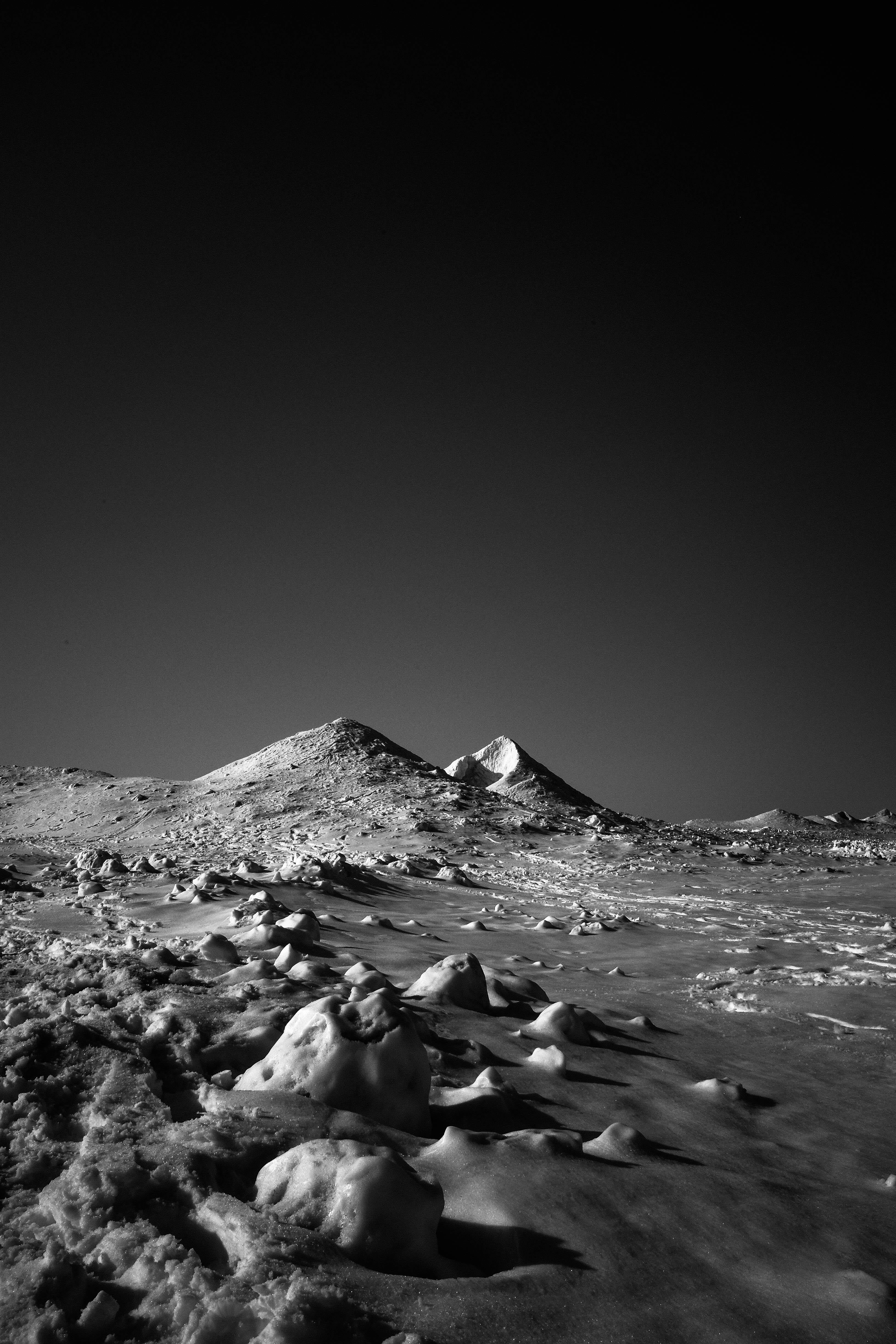Mars on Earth, Michigan - Black & White Photo of A Sparse Snow Covered Landscape