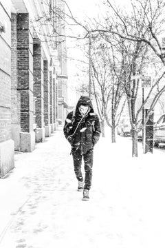 Snow, Chicago, Male Figure Walking on City Street During a Snow Storm, B&W Photo