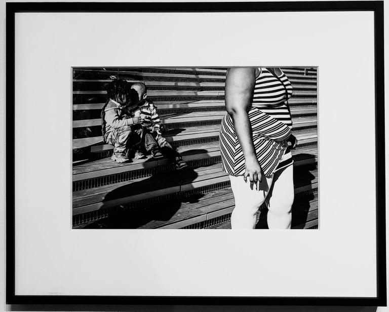 Stripes & Kisses, Chicago, Geometric Patterns, 2 Children Kissing, B&W Photo 2