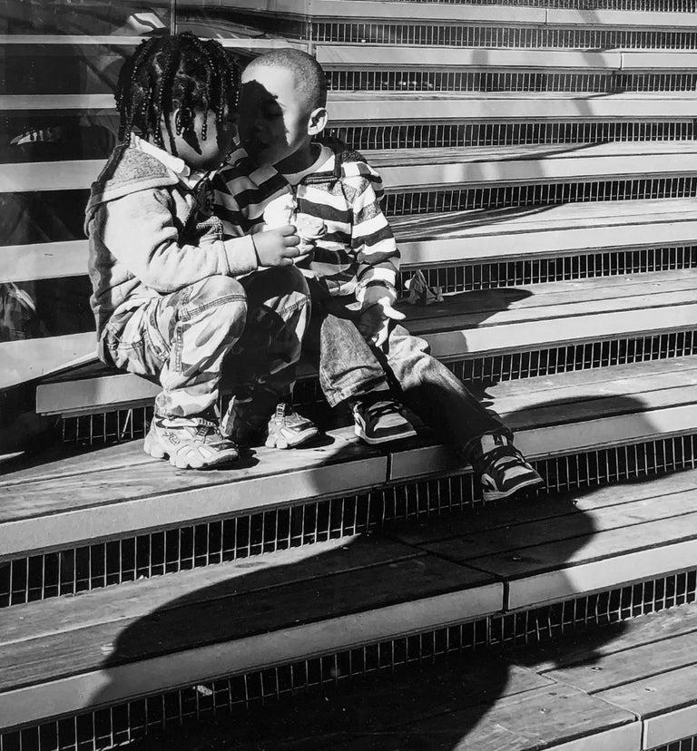 Stripes & Kisses, Chicago, Geometric Patterns, 2 Children Kissing, B&W Photo 3