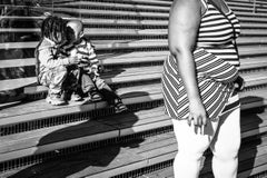 Stripes & Kisses, Chicago, Geometric Patterns, 2 Children Kissing, B&W Photo