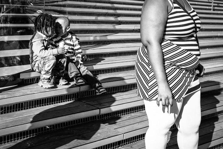 Stripes & Kisses, Chicago, Geometric Patterns, 2 Children Kissing, B&W Photo 1