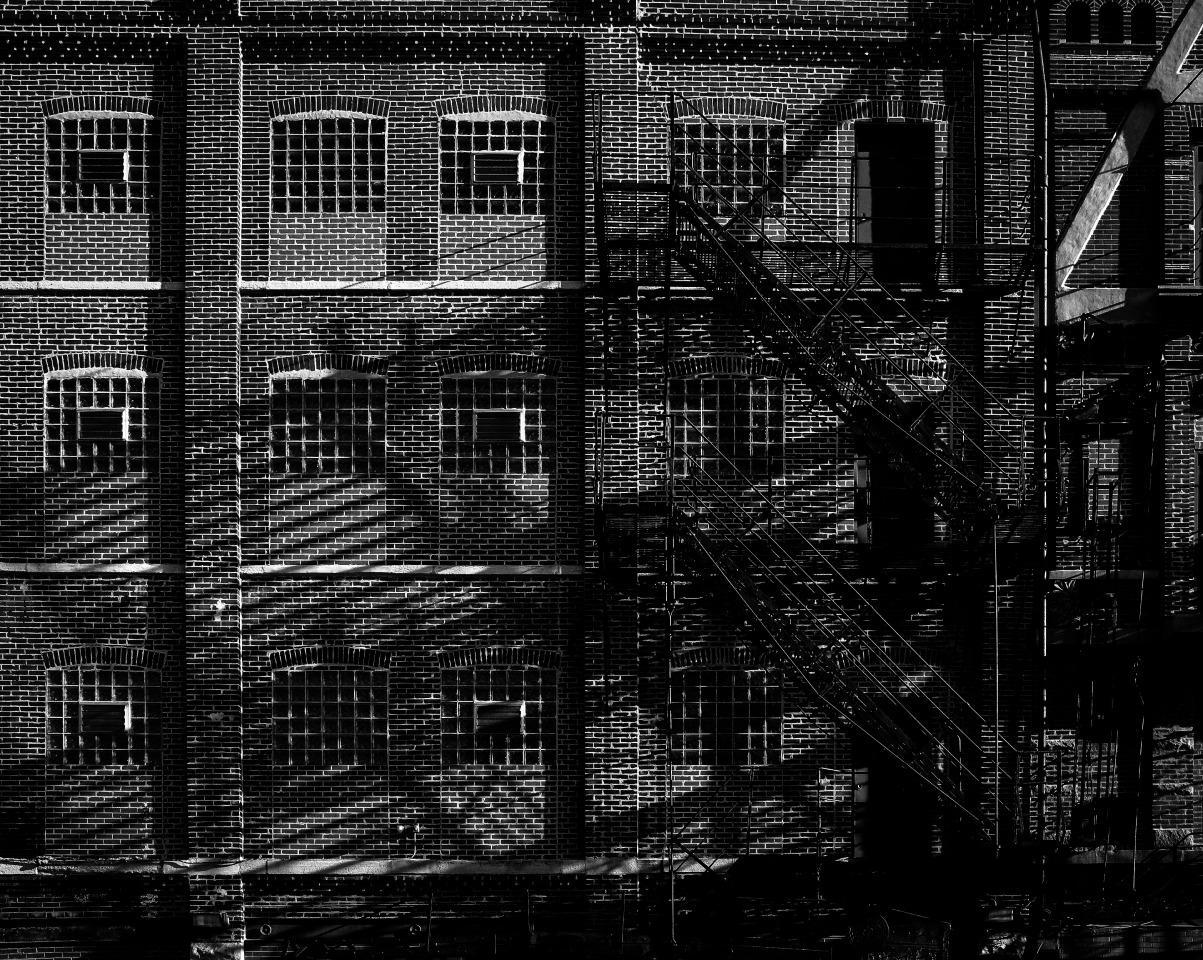 West Loop, Chicago, Industrial Brick Facade w/ Fire Escapes & Shadows, B&W Photo