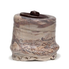 Sailboat Shino Jar with Drawings by Kirk Mangus