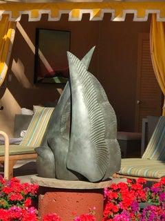 Wing To Wing, Kirk Tatom, bronze sculpture, two birds, deco, Santa Fe