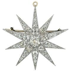 Kirkpatrick 14 Karat Gold Platinum GIA Diamond Star Snowflake Brooch Pendant