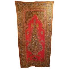 Kirman Mughal India Embroidered Shawl or Wall Hanging, 19th Century