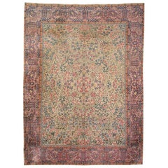Kirman Wool Rug, Classic Flowers Design over Blue and Green