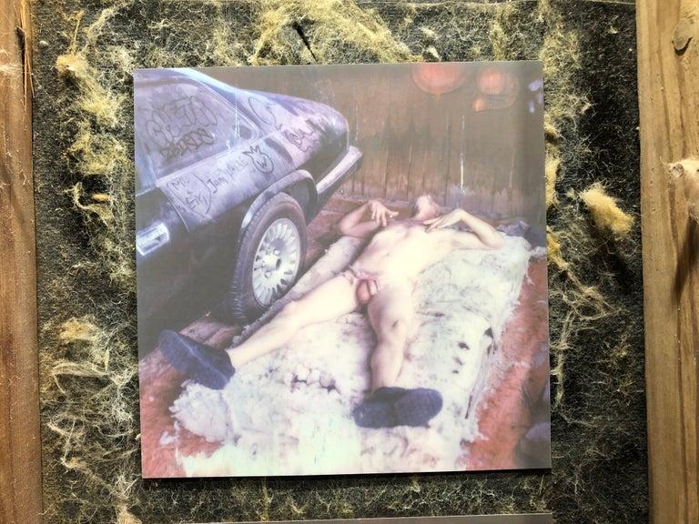 Pins and Needles - Contemporary, Nude, men, Polaroid, 21st Century - Gray Color Photograph by Kirsten Thys van den Audenaerde