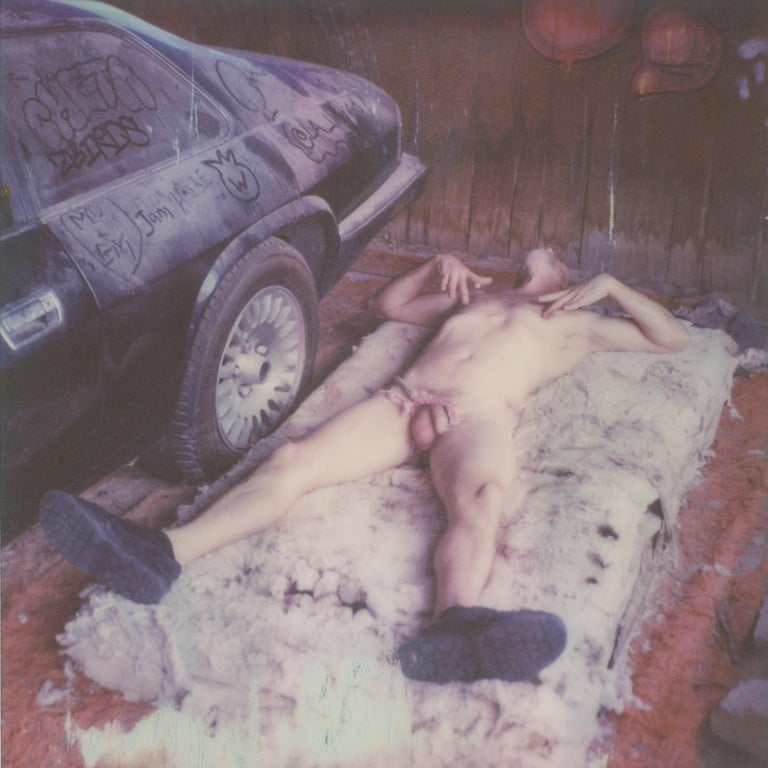 Kirsten Thys van den Audenaerde Color Photograph - Pins and Needles - Contemporary, Nude, men, Polaroid, 21st Century